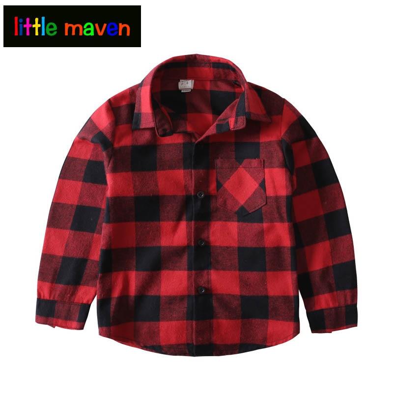 Këmishë vjeshte 2017 për djem dhe vajza Bluzë me pllaka të kuqe - Veshje për fëmijë - Foto 1
