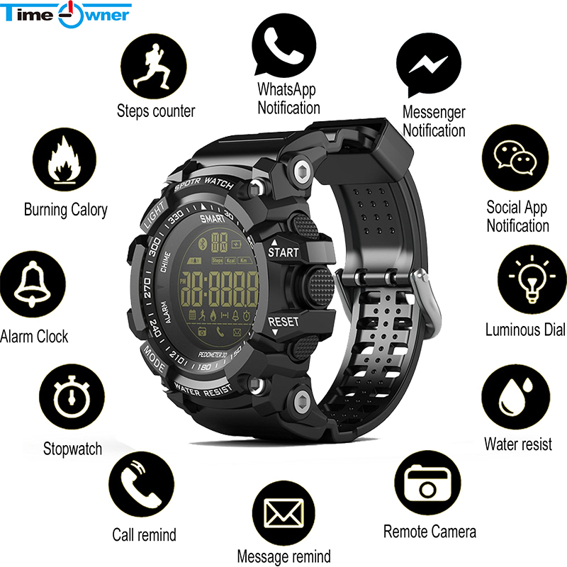 Bluetooth Clock Wristwatch Pedometer Remote-Control Time Owner EX16 Ip67 Waterproof No