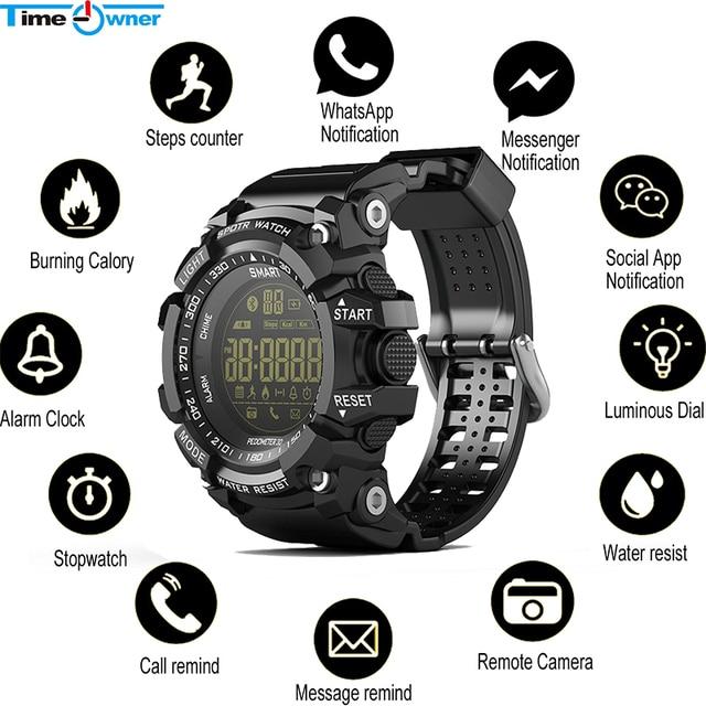 時間所有者 Bluetooth 時計 EX16 スマート腕時計通知リモコン歩数計スポーツウォッチ IP67 防水男性の腕時計
