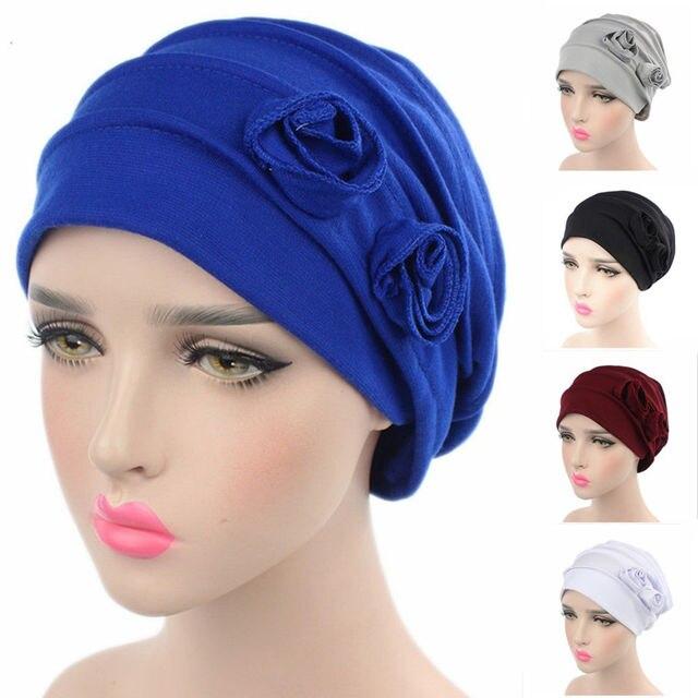 51bc65a68 US $2.99 |1PC Spring Beanies Elastic Cloth Cap Women Muslim Hat Flower Head  Cap Scarf Fashion Soft Caps Lady Summer 7 Colors-in Skullies & Beanies ...