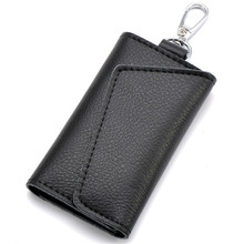 2016 Key Holder Wallet 100% Genuine Leather Unisex  Solid Key Wallet Organizer Bag Car Housekeeper Wallet Holder DC74