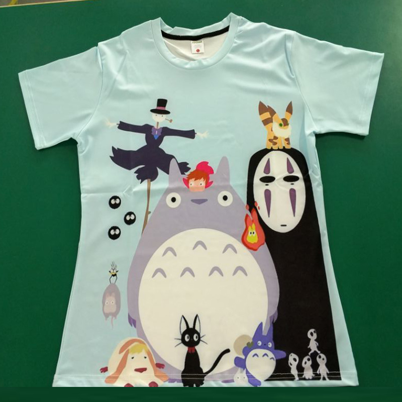 Studio Ghibli Miyazaki Hayao Anime Spirit Away Mask No Face Bank Totoro Cartoon Men Women 3D Clothes Summer T-Shirt T Shirt Geek