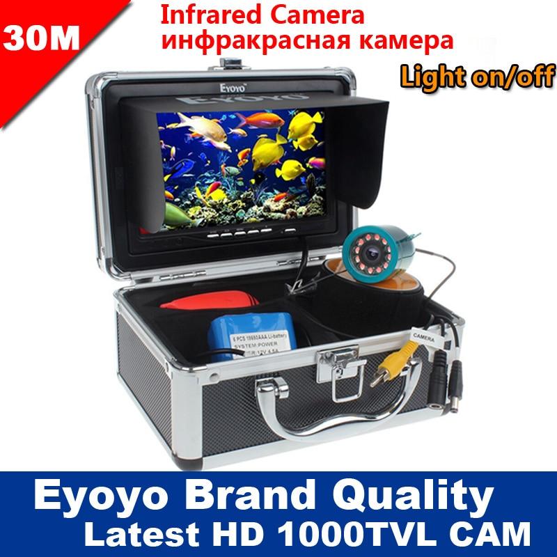 Brand New 30 Eyoyo m 1000TVL Inventor Dos Peixes Debaixo D' Água Do Mar de Gelo Pesca 7 Monitor Da Câmera de Vídeo AntiSunshine Shielf Sunvisor IR LED