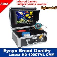 Eyoyo оригинал 30м 1000TVL подводная камера для рыбалки 7 » монитор эхолот для рыбалки на русском языке солнцезащитный козырек инфракрасный светодиод искатель рыбы зимняя рыбалка