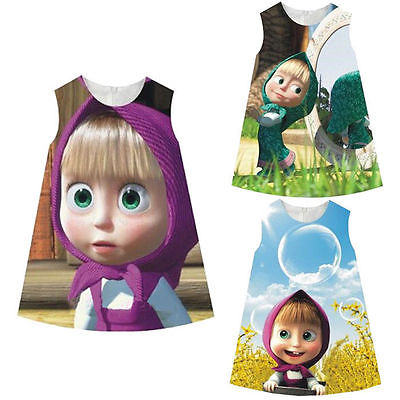 2017 Hot Sale NEW Kids Baby Girl Clothes Summer Sleeveless Cotton Masha And The Bear Party Dress Vest Skirt Toddler Clothes CA free shipping new arrival 2015 fashion summer baby girl lovely flower sleeveless bowknot round neck party dress hot sale