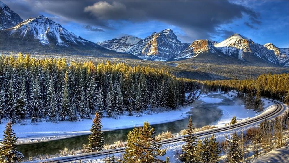 Nature Landscape Peaks Forest Rail Road <font><b>Winter</b></font> 4 Sizes <font><b>Home</b></font> <font><b>Decoration</b></font> Canvas Poster Print