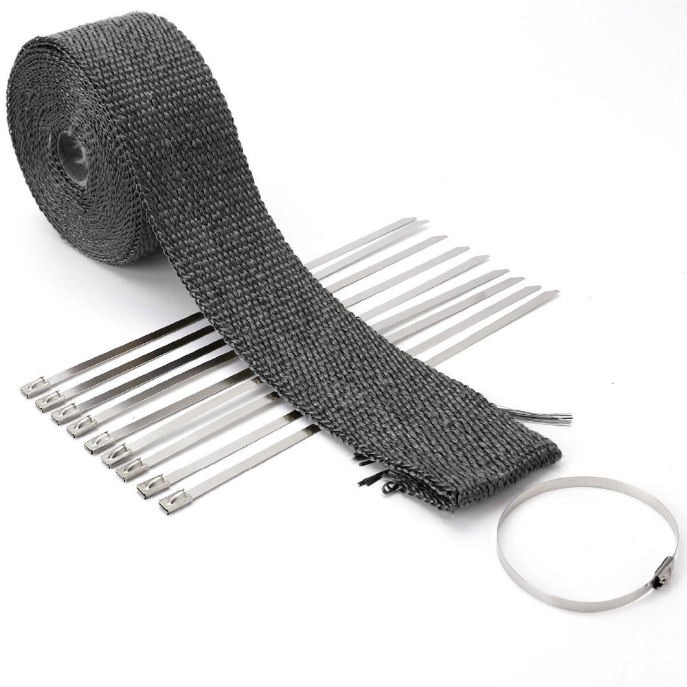 5M/10 M Ribbon Bandages Bend Thermal Dismantle Exhaust Manifolds + 10 Black Moto Bindings Electric Bicycle Accessories