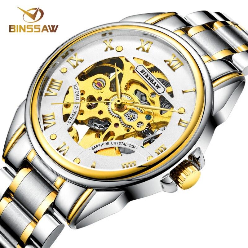BINSSAW 2018 New Man Original Luxury Brand Men s Fashion Business Stainless Steel Skeleton Automatic Mechanical