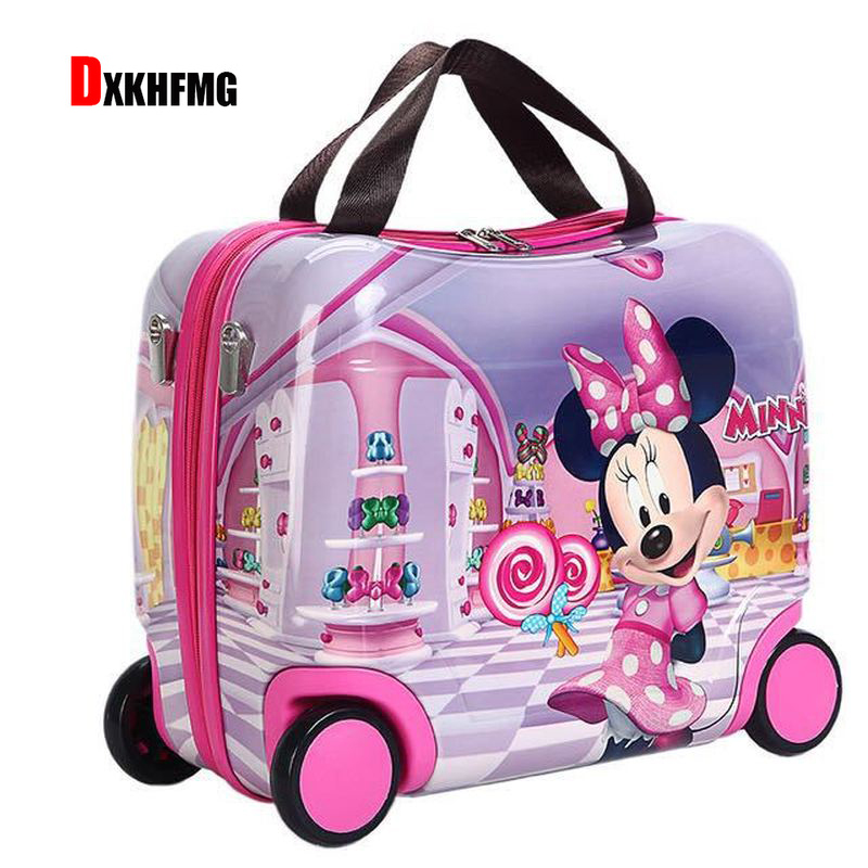 Children Suitcase Luggage-Bags Wheels Hard-Case Traveling Riding-Box Portable New Cute