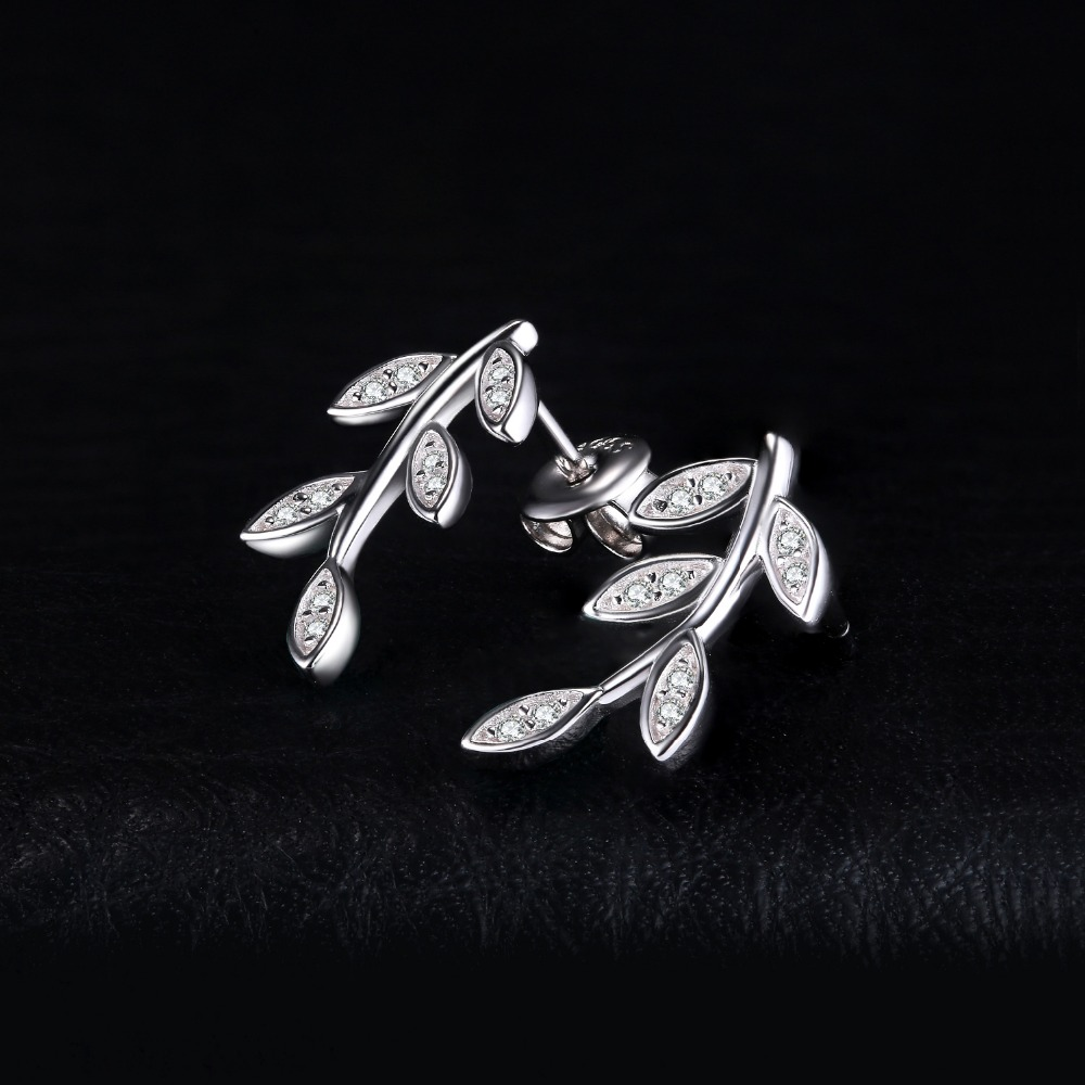 JewelryPalace Glam Leaf Charm Infinity Cubic Zirconia Stud Earrings 925 Sterling Silver Special Gift Fine Jewelry Birthday Gift