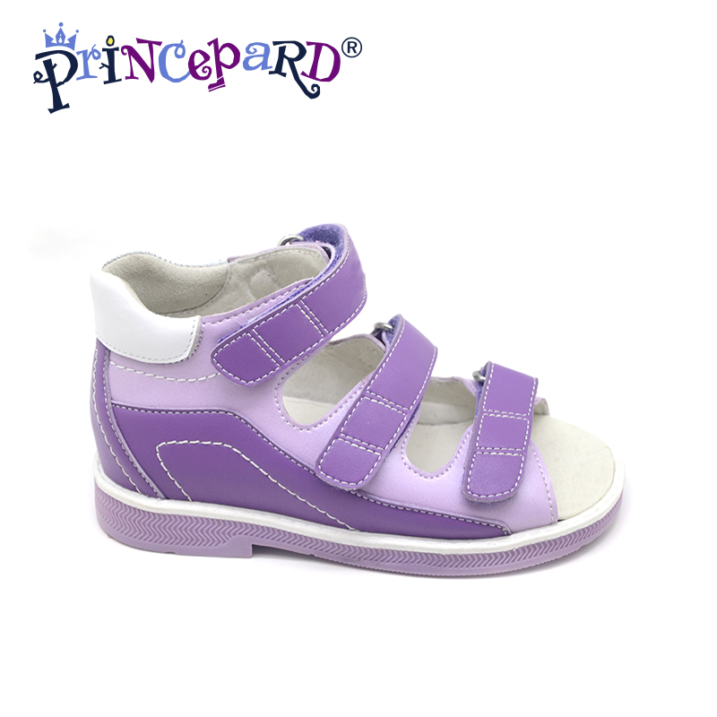 Princepard Need Customize in Advance 20 days orthopedic shoes purple genuine leather sandals shoes orthopedic footwear for kids