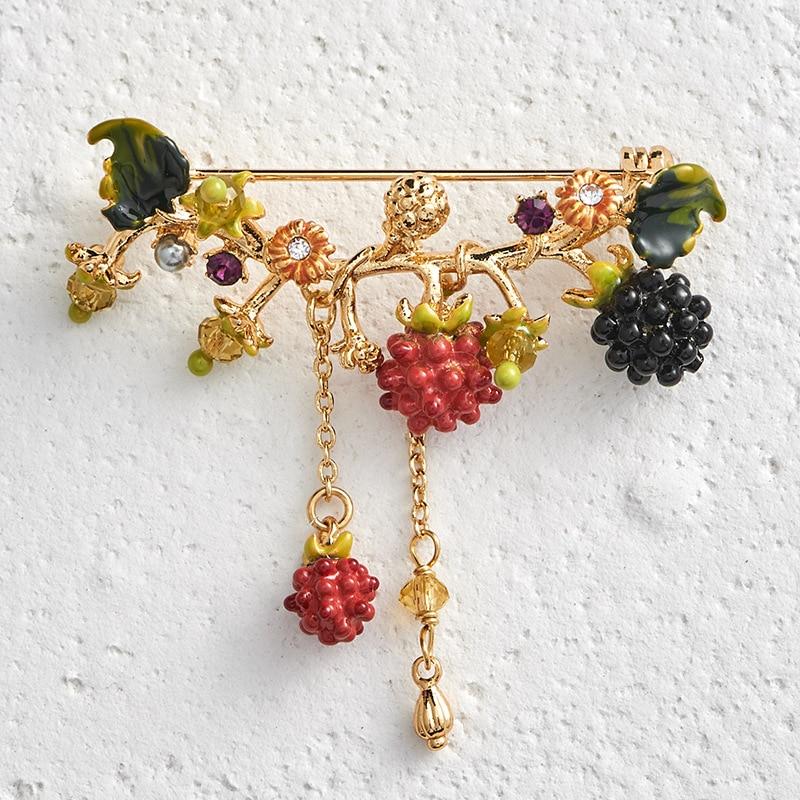 Romantic unique raspberry brooches enamel glaze lovely fruit tassel brooch for women fashion party jewlery
