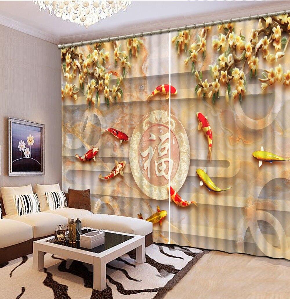 Роскошные плотные 3D окна шторы s для гостиная спальня индивидуальные размеры рыбы