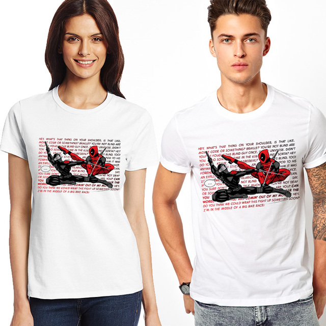 3c118c1f9a Deadpool Creative Top Cool Couple T Shirt For Lovers Funny T-shirt Fashion  Design Style Tee White Short Sleeve Men Women Tshirt