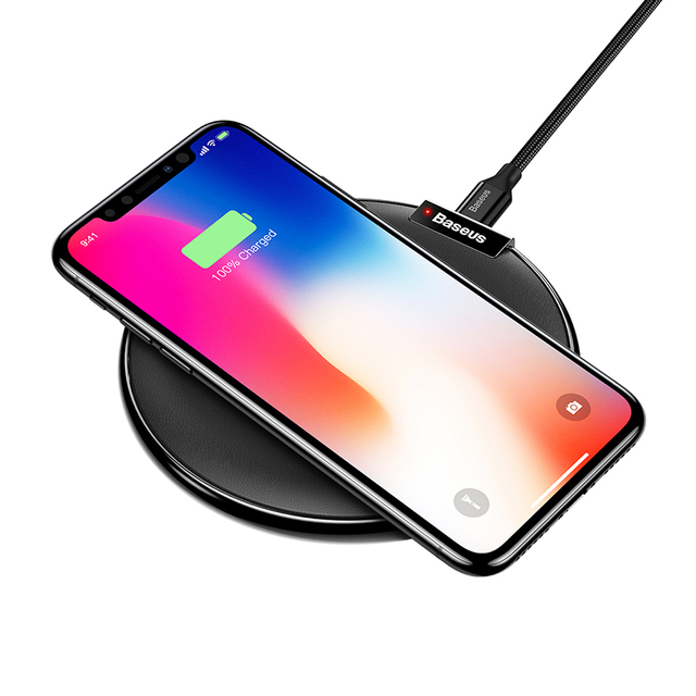 Baseus Leather Qi Wireless Charger For iPhone X 8 Plus Samsung Galaxy Note 8 S8 S7 S6 Edge Desktop Fast Wireless Charging Pad