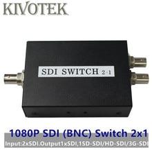 Interruptor SDI 3G/HD/SDI Switcher 2x1 com BNC Fêmea 1080P Suporte Extensor de Distribuição para Projetor Monitor de Câmera Frete Grátis