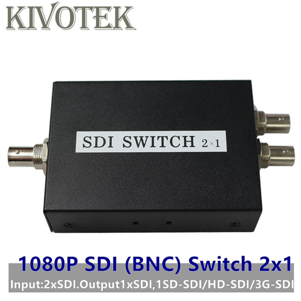 SDI Switch 3G/HD/SDI 2x1 Switcher with BNC Female Support 1080P Distribution Extender for Projector Monitor Camera Free Shipping-in Computer Cables & Connectors from Computer & Office