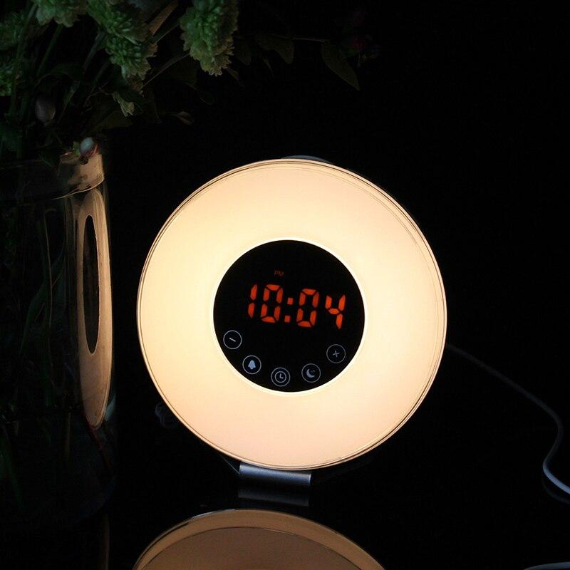 BORUiT Wake Up Light LED Night Light with Alarm Clock Bedroom Desk Lights Bedside Table Lamp USB Rechargeable LED Lights 6 Color