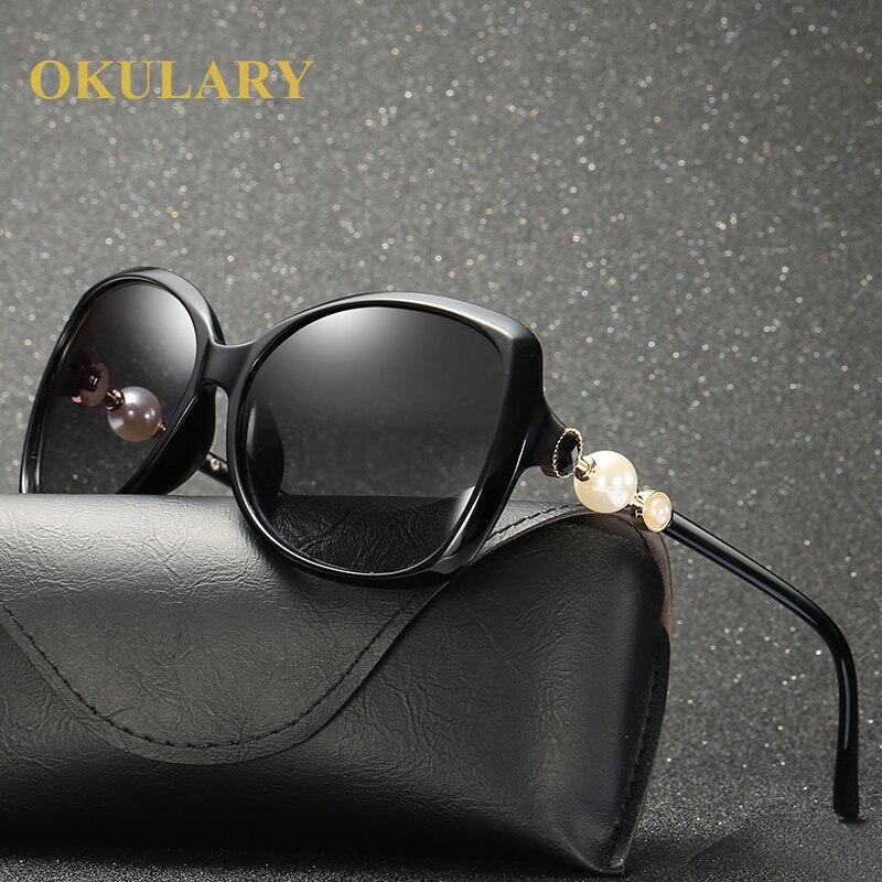 New Women Polarized Sunglasses Oversized Eyeglasss UV400 Fashion Pearl Sunglasses With Box