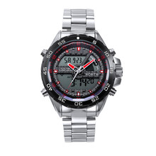 2016 Venta Caliente, Reloj Superior de la Marca de Lujo Relogio masculino Militar Del Ejército de Los Hombres de Doble Movimiento de Reloj de Cuarzo Banda de Acero Inoxidable