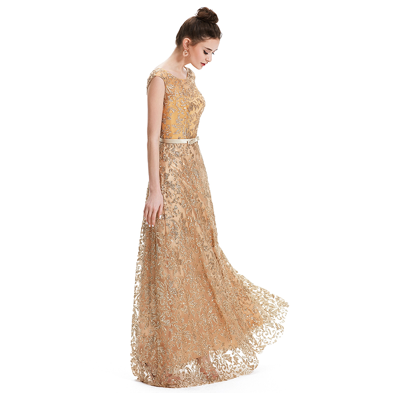 Vintage Gold Embroidery Evening Dresses V Back Lace Up Modest Formal Prom  Party Wedding Gowns abendkleider d3d432e99ac5