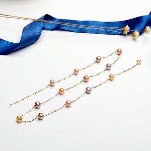 Image 3 - YS naszyjnik z pereł 18k czystego złota kobiety dziewczyna prezent na rocznicę naturalny naszyjnik z pereł naszyjnik towary wysokiej jakości biżuteria