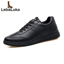 LebaLuka Size 34-44 Classics Men Vulcanized Shoes Round Toe Lace Up Vulcanized Shoes Daily Fashion Flats Shoes Male Footwear