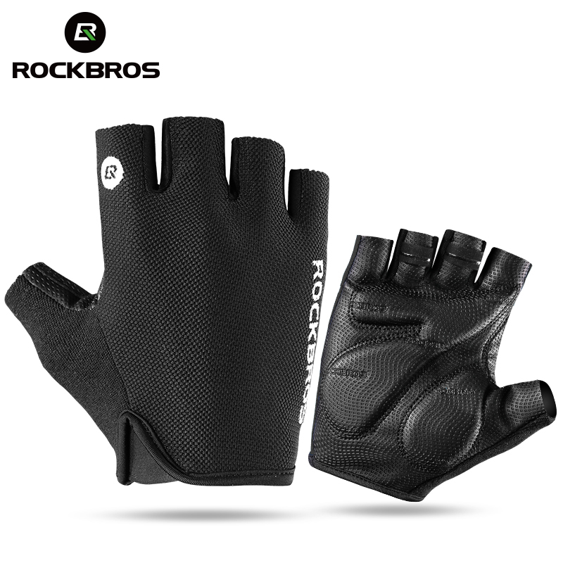 ROCKBROS Bicycle Bike Half Fingger Gloves Shockproof Breathable Men Women Summer MTB Mountain Sports Gloves Cycling Clothings