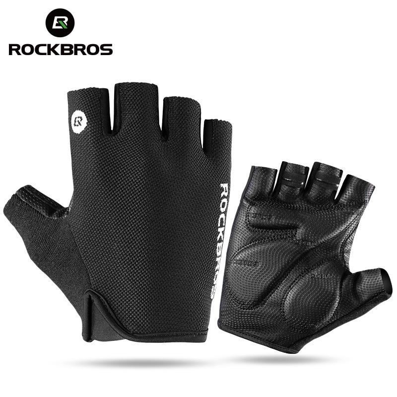 ROCKBROS Fahrrad Fahrrad Hälfte Fingger Handschuhe Stoßfest Atmungs Männer Frauen Sommer MTB Berg Sport Handschuhe Radfahren Clothings