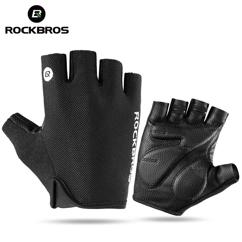 ROCKBROS bicicleta medio Fingger guantes a prueba de golpes respirables hombres mujeres verano MTB montaña deportes guantes ciclismo ropa