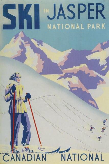 Vintage Ski Olahraga Perjalanan Poster Jasper National Park Klasik Kanvas Lukisan Dinding Poster Stiker Dekorasi Rumah Hadiah Painting Calligraphy Aliexpress