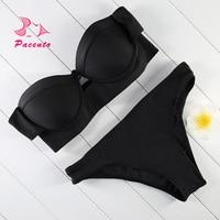 Pacento Sexy Strapless Bikini Black Push Up Swimwear Female Two Piece Beachwear Lady Bathing Suit Women