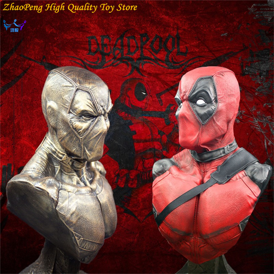 Anime Deadpool Bust Resin BRONZE AND RED Action Figure Collectible Model Surtuple 33cm Children gift FB199 wwii hms surprise captain jack resin soldier bust model resin bust master and commander