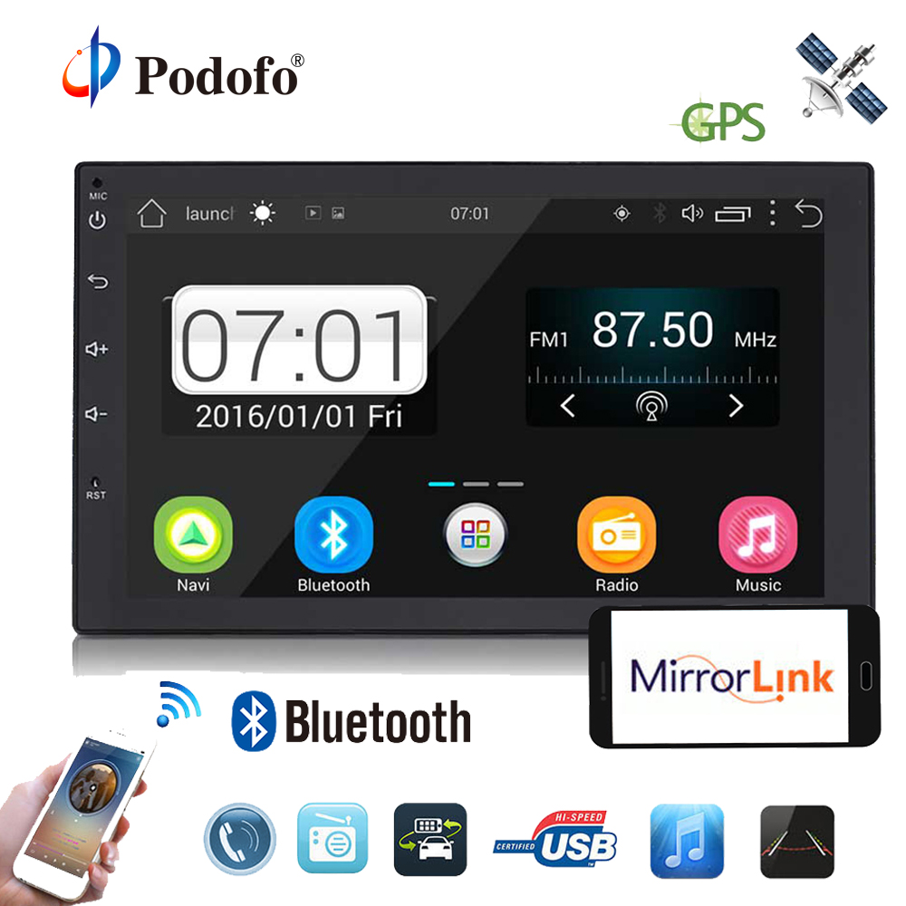 Podofo 2din Android Car Radio font b GPS b font Navigation Autoradio Wifi Car Audio Player