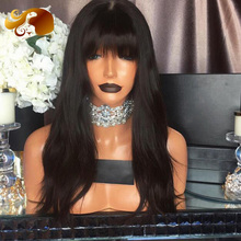 8A Brazilian Natural Straight Full Lace Human Hair Wigs With Full Bangs Virgin Hair Lace Front Human Hair Wigs For Black Women