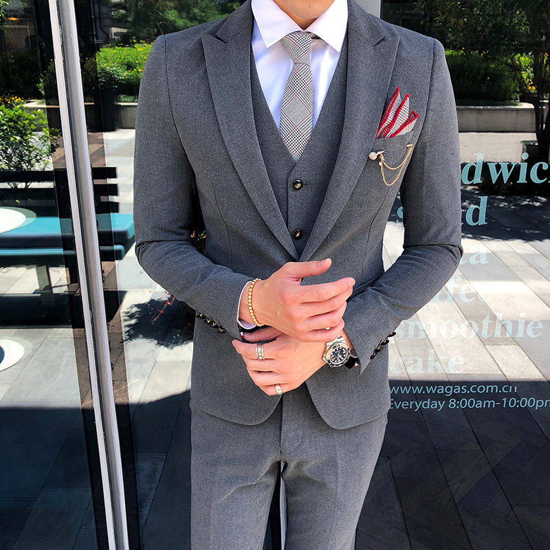 Бургундия Бизнес Мода Мужчины двубортный костюм джентльмен строгий костюм; для жениха на заказ - 2