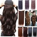 140 г 17 inch 43 см 5 клипы Вьющиеся Волнистые клип в наращивание волос термостойкого волокна Много цветов доступны