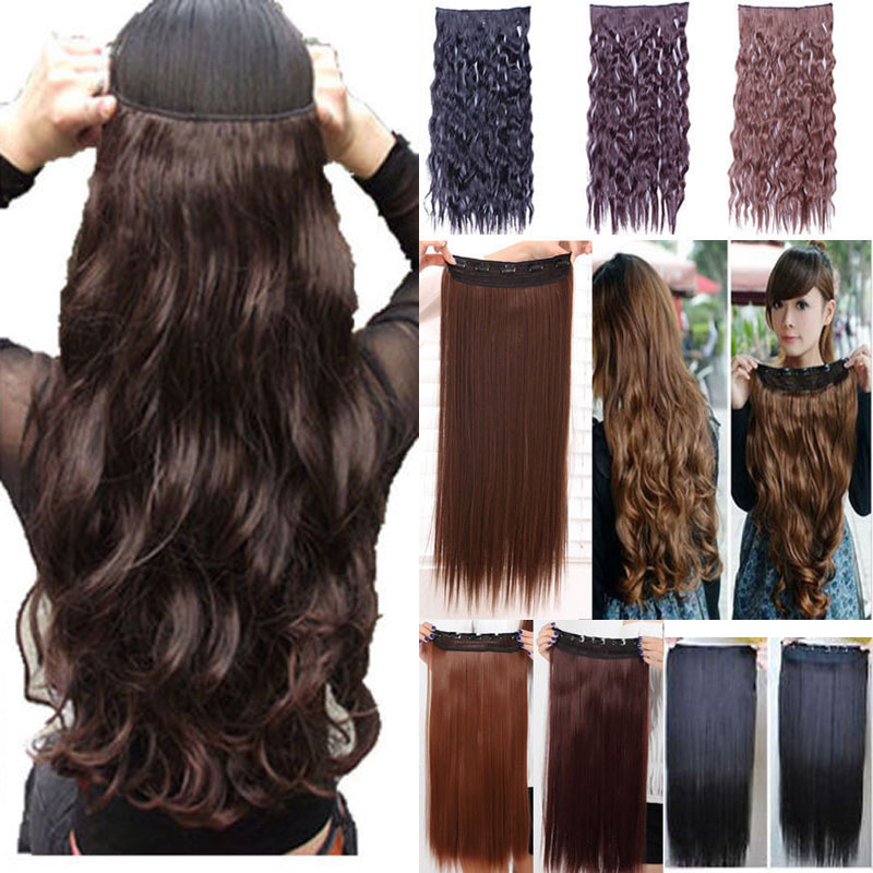 140g 17inch 43cm 5 clips on curly wavy clip in hair extensions heat resistant fiber many