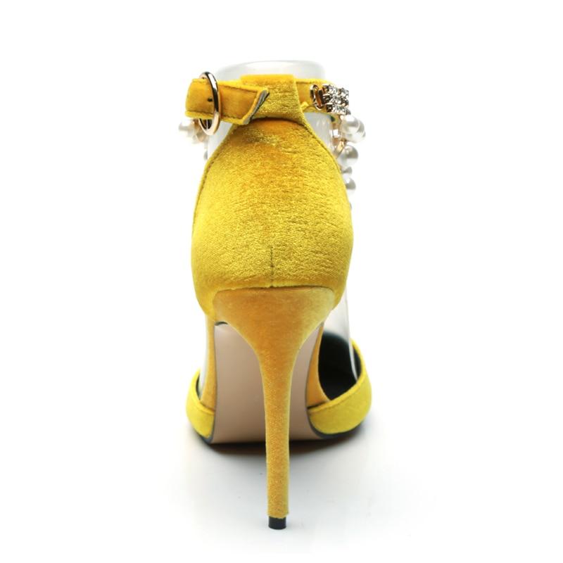 Cristal Bout Velours Dames Boucle Femmes Pointu Talons Sangle Haute Jaune Yellow Pompes 2018 Chaîne Chaussures Nouvelles Perle Silla Dirigeants Sexy wOxBBq