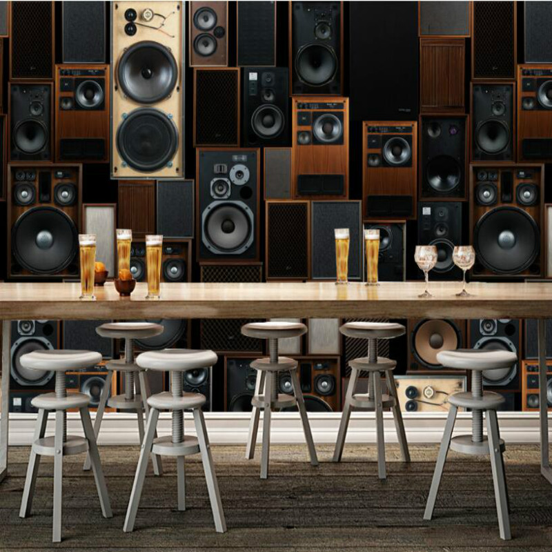 retro KTV sound speaker decorative painting wallpaper for bar brass backdrop home improvement 3d wallpapers living room home improvement decorative painting wallpaper for walls living room 3d non woven silk wallpapers 3d wall paper retro flowers