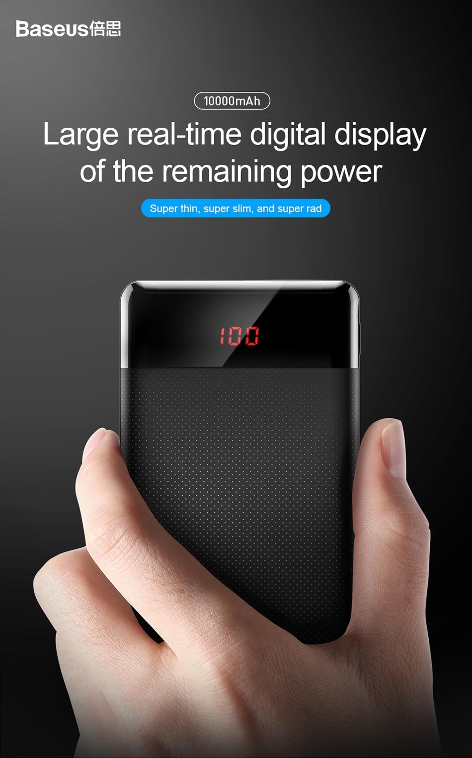 Baseus 10000mAh Power Bank przenośna ładowarka do Xiao mi mi 9 iPhone 1
