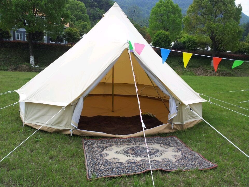 FREE SHIPPING hot sale 4m Dia cotton canvas bell tent