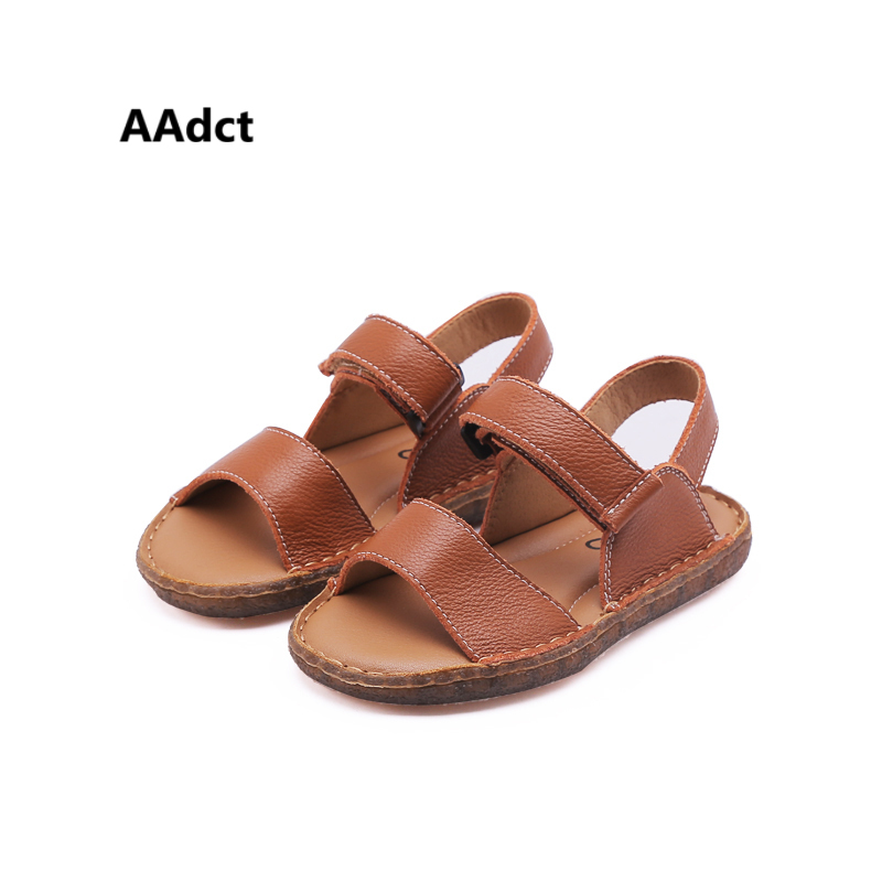 AAdct 2018 Handmade boys sandals Brand High-quality kids sandals for girls Retro Genuine leather children shoes