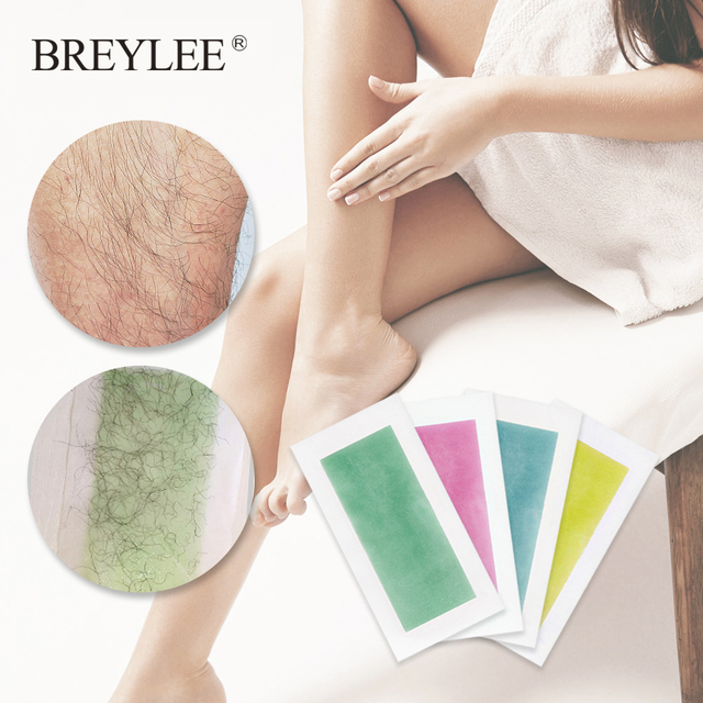 BREYLEE Hair Removal Wax Strips Papers Large Size Face Beard Body Professional Hair Remover Double Sided