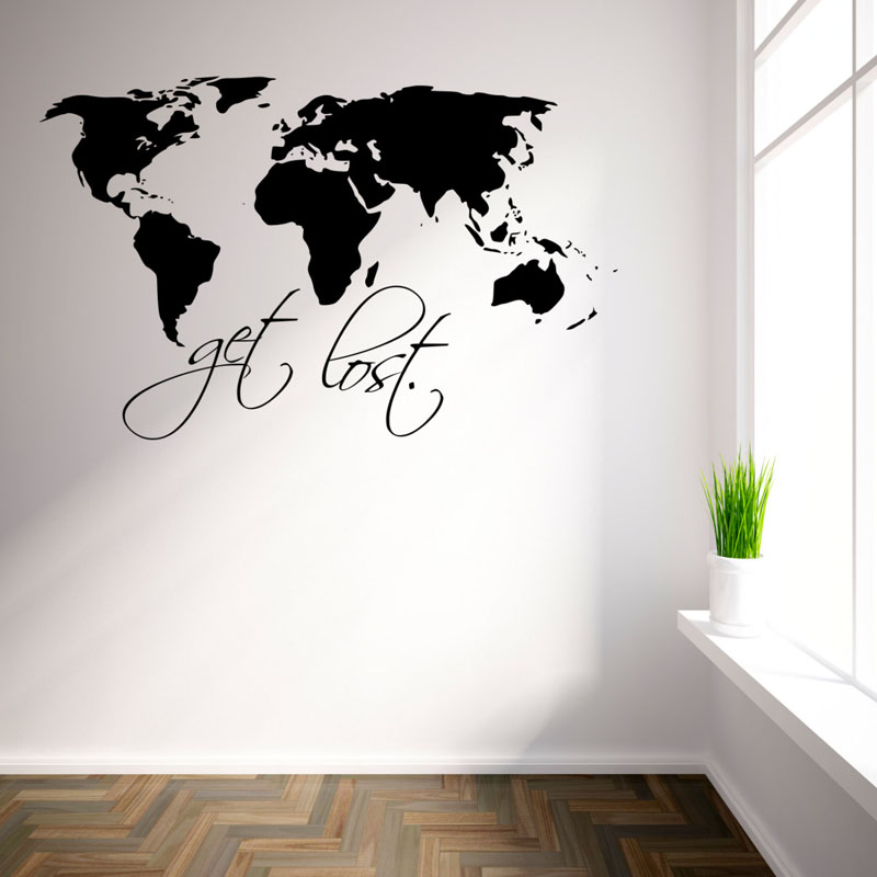 DCTOP Get Lost Art Wall Decals For Living Room Removable Vinyl Home Decor World Map Wall Stickers Black