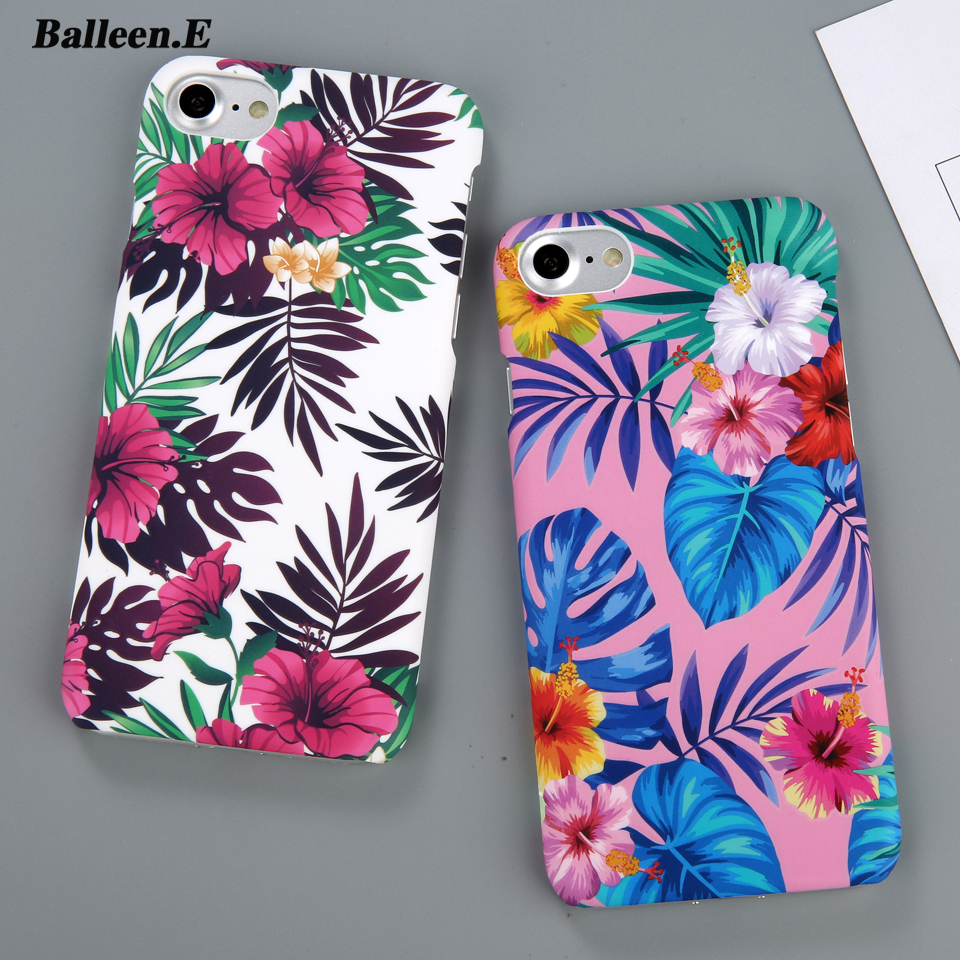 Balleen.E Colorful Green Leaf Floral Phone Cases For iPhone 6 Flower Case Hard PC Back Cover Capa Coque For iPhone 6 6s 7 7 Plus