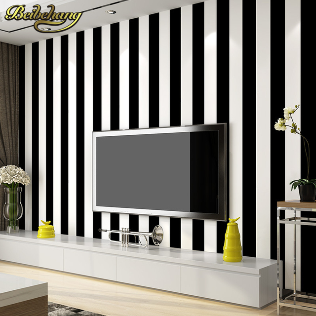 Beibehang Roll Black And White Wide Stripe Wallpaper Simple Cross Vertical Striped Wall Paper Decor For