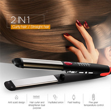 110 240V Ceramic Hair Straightening Iron Flat Iron LED Hair Tools Professional Curling Hair Straightener Curler Electric Irons