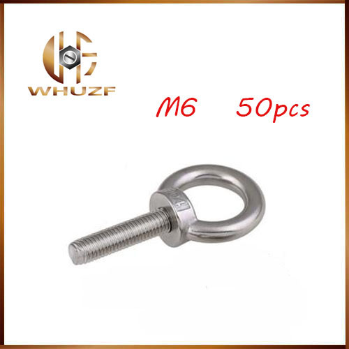50pcs/lots M6*12 304 Stainless Steel Lifting Eye Bolts Round Ring Hook Bolt 1pc m5 304 stainless steel chain ratchet tie fasten bolts hook