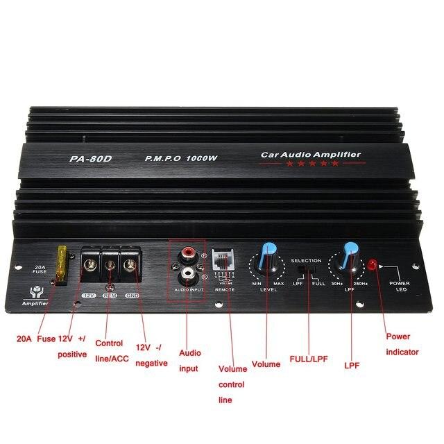 1PC Hot 12V 1000W Mono Car Audio Power Amplifier Powerful Bass Subwoofers Amp PA-80D Active Components